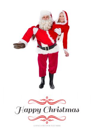 mrs: Santa y se�ora sonriendo a la c�mara contra la frontera Noel Foto de archivo