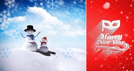 neige qui tombe: La neige qui tombe contre la famille de bonhomme de neige