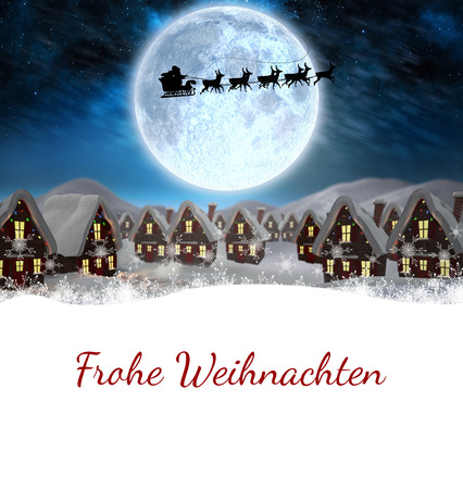 santa sleigh: Christmas greeting in german against santa delivery presents to village