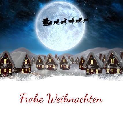 blue santa: Christmas greeting in german against santa delivery presents to village