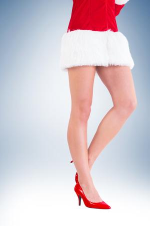 pere noel sexy: La moiti� inf�rieure de sexy Santa Girl sur la vignette fond