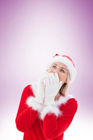 pere noel sexy: Blonds festives gants blancs sur fond vignette
