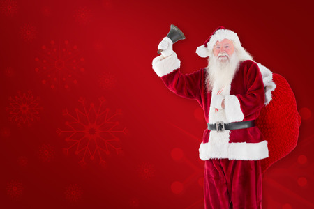 ringing: Santa claus ringing bell against red background