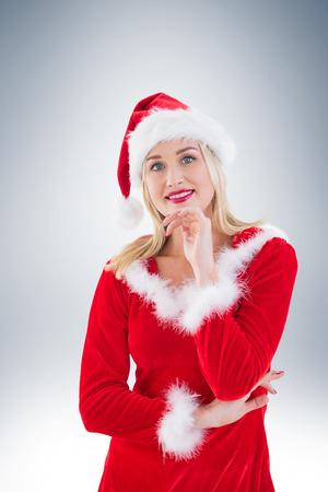 pere noel sexy: Festive blonds souriant � la cam�ra sur la vignette fond
