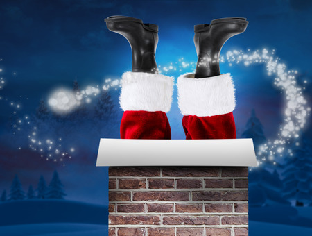 br: Santa claus boots against night sky over forest
