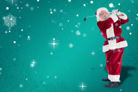 christmas golf: Santa playing golf against green snowflake background