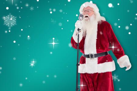 superstar: Santa sings like a Superstar against green