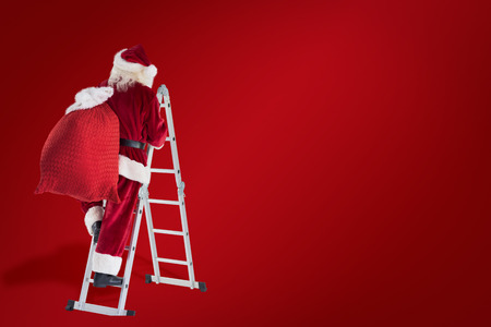 clear away: Santa steps up a ladder against red background