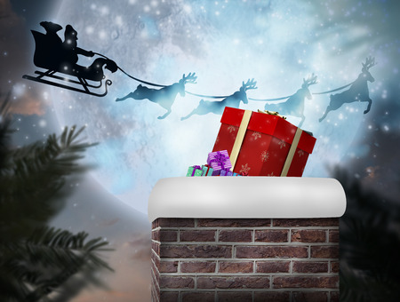 santa sleigh: Composite image of santa flying his sleigh against full moon over forest Stock Photo
