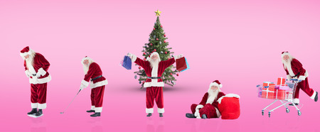 christmas golf: Composite image of different santas against pink vignette Stock Photo