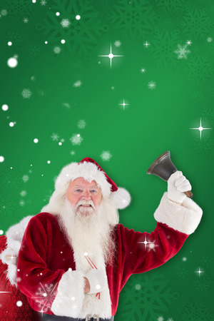 ring stand: Happy santa ringing a bell against green snowflake background