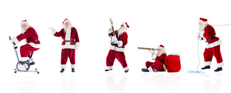 home trainer: Composite image of different santas on white background Stock Photo