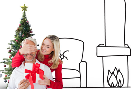 vignette: Loving couple with gift against white background with vignette Stock Photo