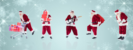 lean back: Composite image of different santas against white snowflake design on blue Stock Photo