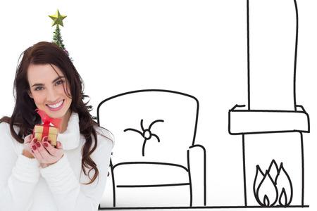 gild: Portrait of a brunette holding gild gift against living room sketch at christmas
