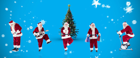 home trainer: Composite image of different santas against blue background