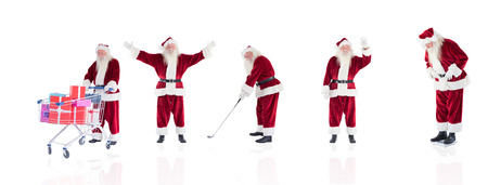 christmas golf: Composite image of different santas on white background Stock Photo