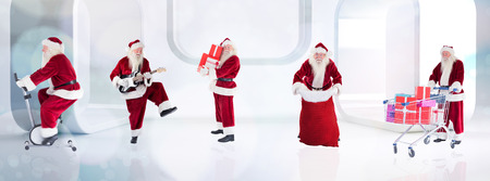 home trainer: Composite image of different santas against lights twinkling in modern room