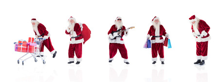 lean back: Composite image of different santas on white background Stock Photo