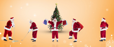 christmas golf: Composite image of different santas against orange vignette Stock Photo