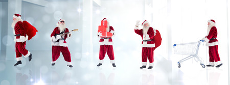 lean back: Composite image of different santas against lights glowing in modern room