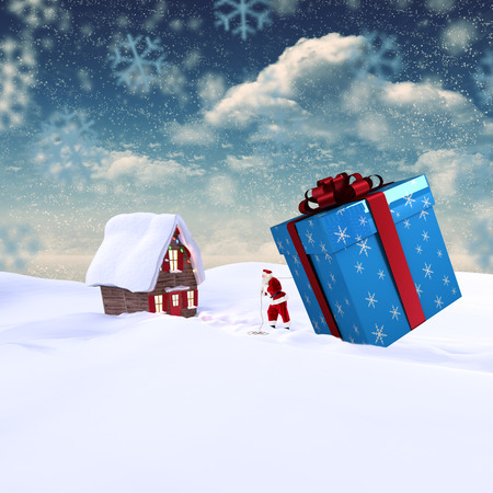 delivering: Santa delivering large gift against snowy landscape Stock Photo