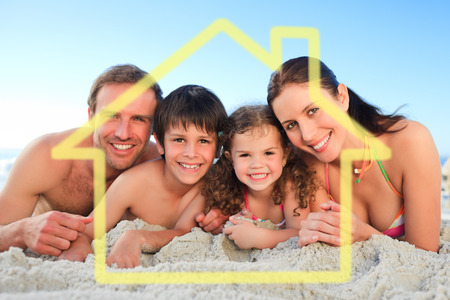 house outline: Family at the beach against house outline