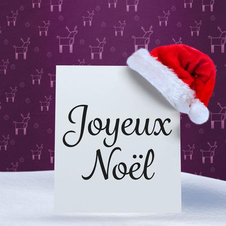 joyeux: Joyeux noel against purple reindeer pattern