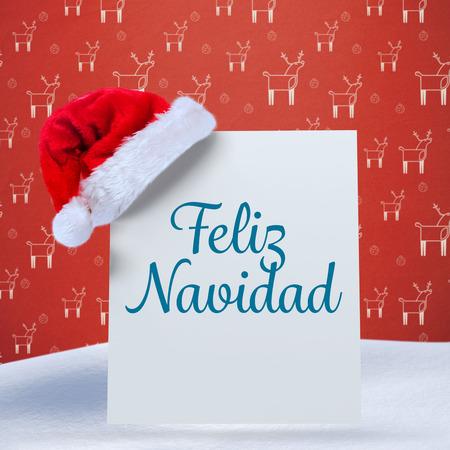 feliz: Feliz navidad against red reindeer pattern