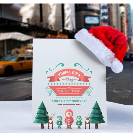 new york street: Merry christmas message against blurry new york street
