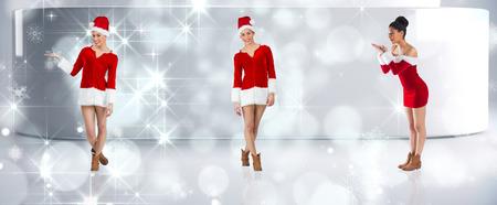 pere noel sexy: Image composite de différents brunettes festives contre lumières scintillantes dans la chambre moderne