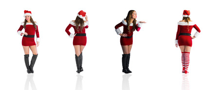 pere noel sexy: Composite image of different festive blondes on white background