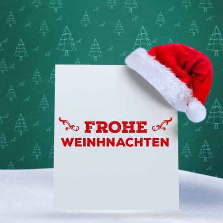 frohe: frohe weinhnachten against green christmas tree pattern