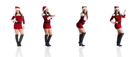 pere noel sexy: Image composite de différents blondes de fête sur fond blanc