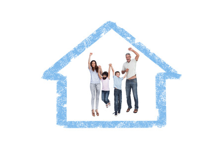 house outline: Cheerful family jumping against house outline