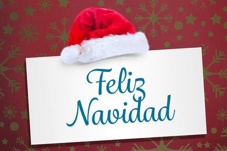feliz: Feliz navidad against snowflake wallpaper pattern