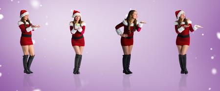 pere noel sexy: Image composite de différents blondes festives contre vignette violet Banque d'images
