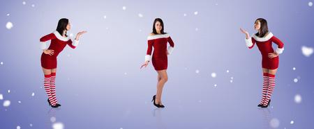 pere noel sexy: Image composite de différents jolies filles à santa tenue contre vignette violet Banque d'images
