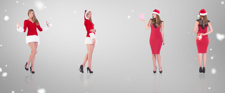 gift behind back: Composite image of different festive blondes against grey vignette Stock Photo