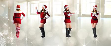 pere noel sexy: Image composite de diff�rents blondes festives contre lumi�res scintillantes dans la chambre moderne