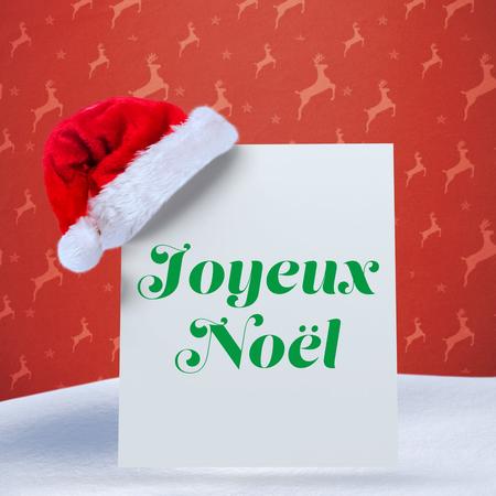 joyeux: Joyeux noel against orange reindeer pattern