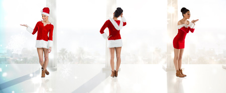 pere noel sexy: Composite image of different festive brunettes against twinkling lights over balcony with columns