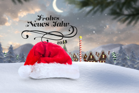 north pole: frohes neues jahr against cute christmas village at north pole