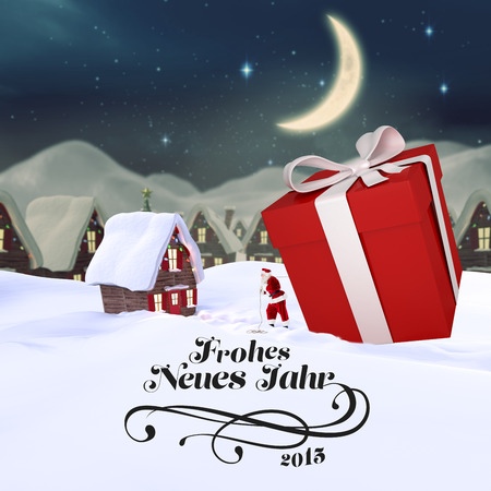 neues: frohes neues jahr against cute christmas village at night