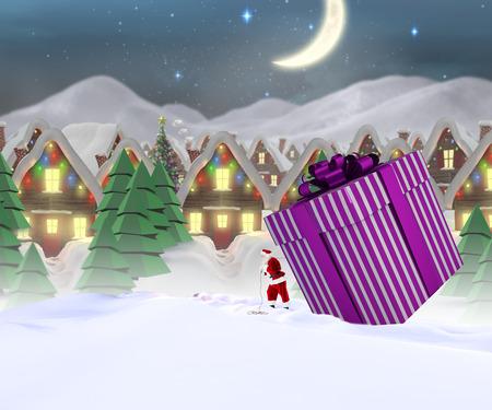 santas village: Santa delivering large gift against quaint town with bright moon
