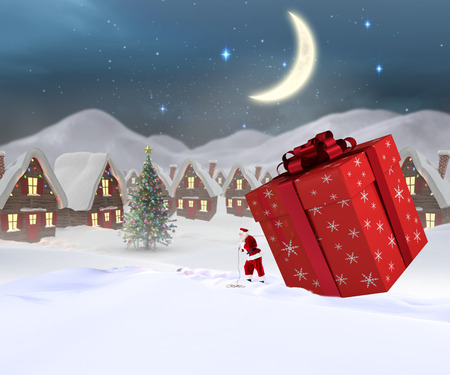 christmas village: Santa delivering large gift against cute christmas village at night Stock Photo