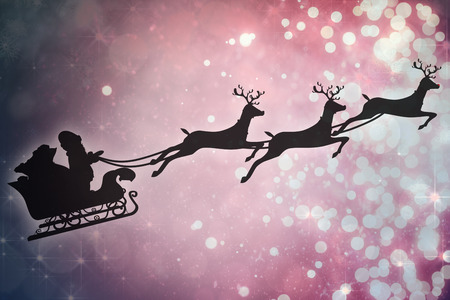 santa sleigh: Silhouette of santa claus and reindeer against light design shimmering on red Stock Photo