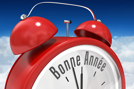 bonne: Bonne annee in red alarm clock against bright blue sky over clouds