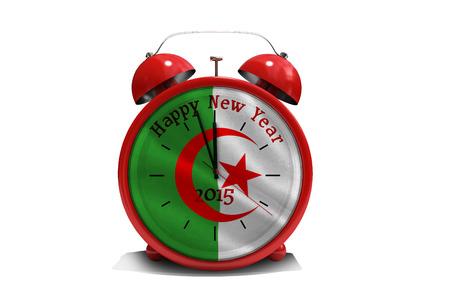 algerian flag: Happy new year in red alarm clock against algerian flag