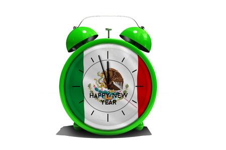 happy new year in green alarm clock against digitally generated